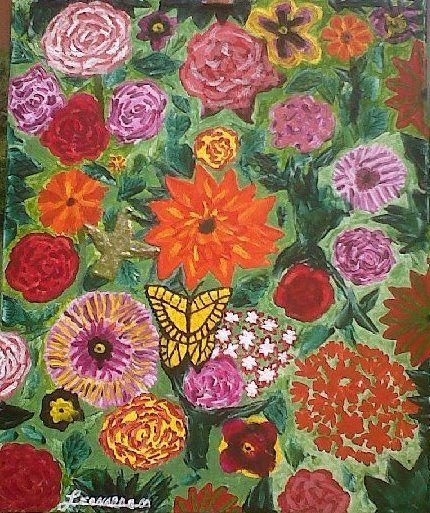 Título Flores para mi Madre (mi segunda pintura)  Acrílico sobre tela 60x50 Autor Leonardo Muñiz  colección privada