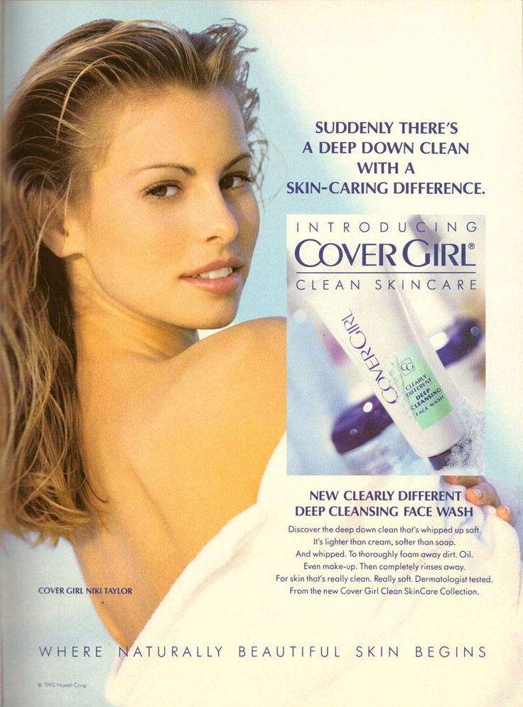 1993 Cover Girl Cosmetics Niki Taylor Print Ad Vintage Advertisement VTG 90s #CoverGirl