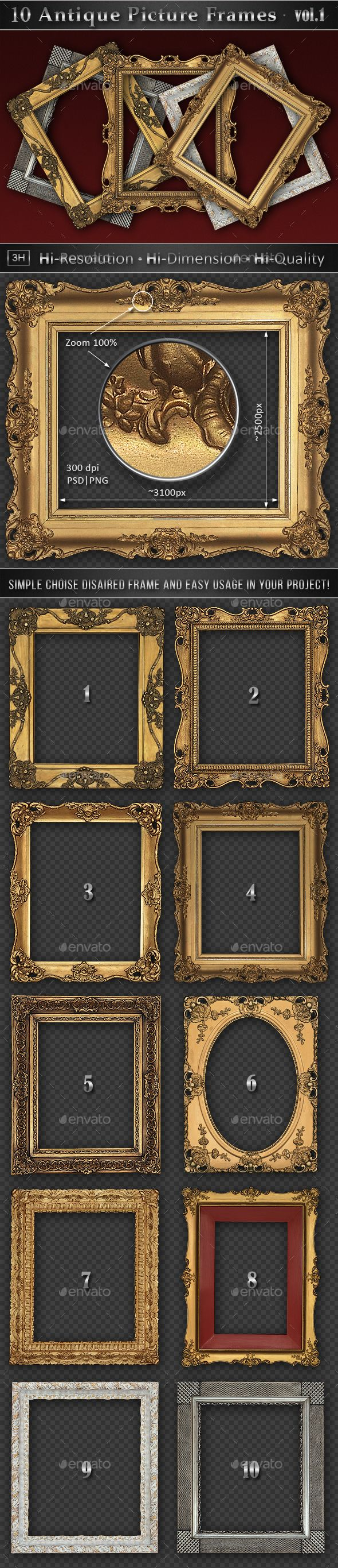 10 Antique Classic Picture Frames vol.1