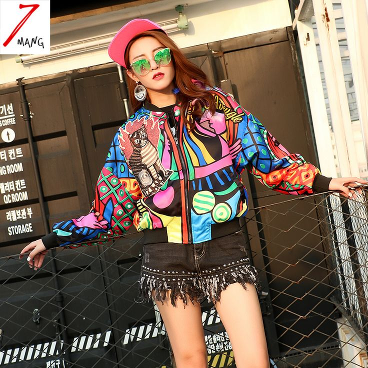 2016 осень женщин уличный стиль цветовой контраст печати бейсбол куртка с длинным рукавом бомбардировщик повседневная кошка патчи куртка купить на AliExpress