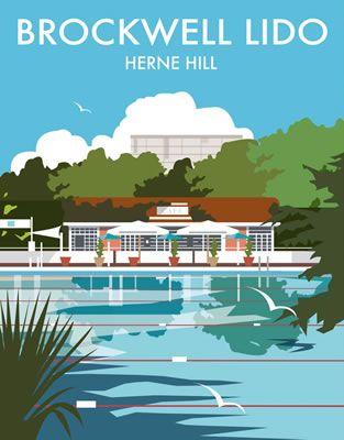 Brockwell Lido, Herne Hill, London. By Illustrator Dave Thompson wholesale fine art print