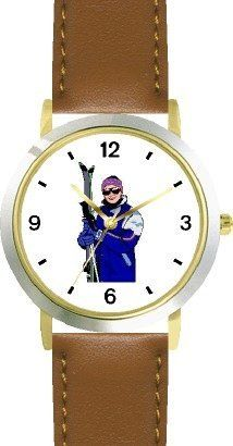 Skier with Skis Snow Skiing - WATCHBUDDY® DELUXE TWO-TONE THEME WATCH - Arabic Numbers - Brown Leather Strap-Children's Size-Small ( Boy's Size & Girl's Size ) WatchBuddy. $49.95