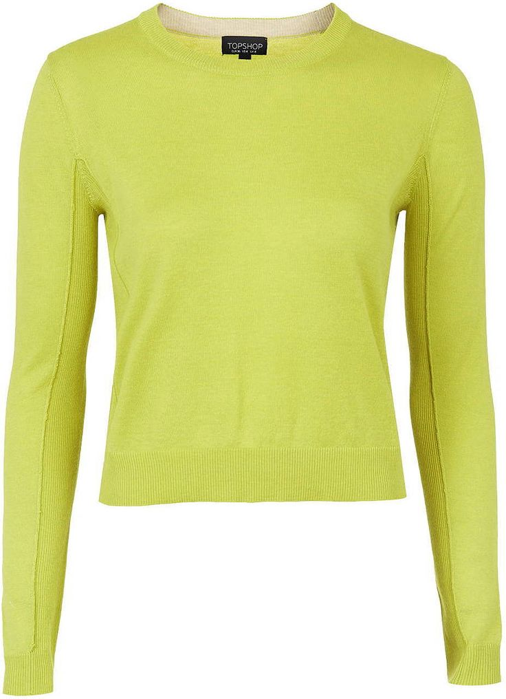 Womens lime fine knit boxy crew - chartreuse, chartreuse from Topshop - £25 at ClothingByColour.com