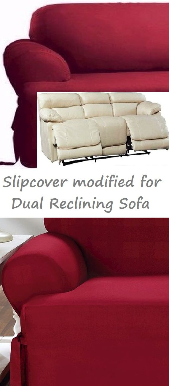 Dual Reclining SOFA Slipcover T Cushion Cotton Burgundy Sure Fit ...
