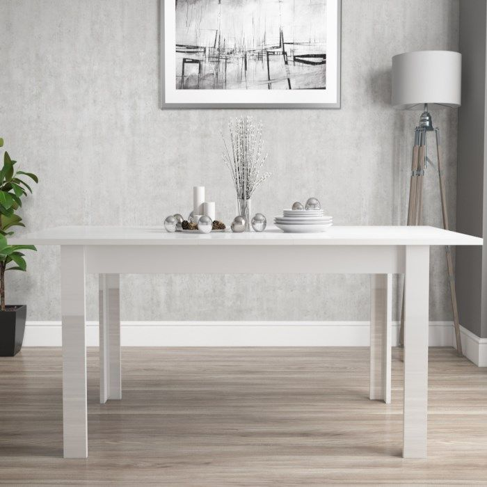 Vivienne Extending White High Gloss 6 Seater Dining Table