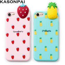 KASONPAI Bonito Caixa Do Telefone Para iPhone 7 Caso Dos Desenhos Animados 3D Deite de Bruços frutas Abacaxi Ouro Banana Macio TPU Tampa Para o iphone 6 6 s 7 Mais(China)