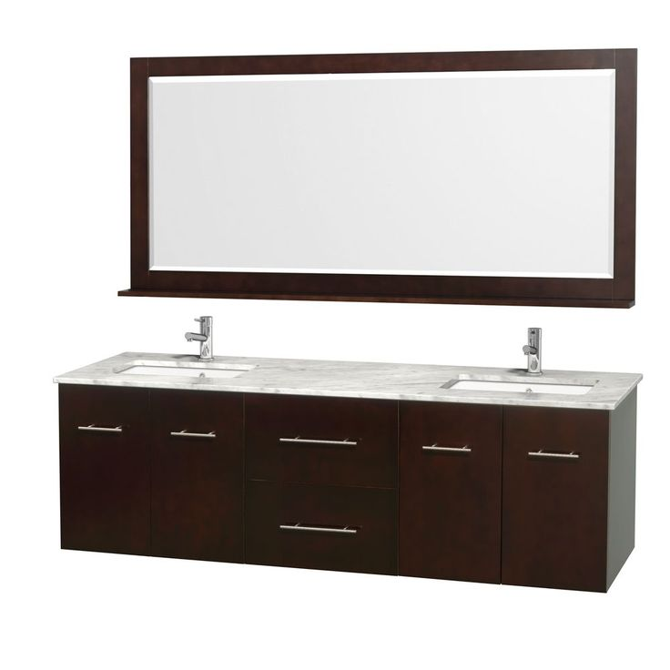 Wyndham Collection Centra 72-inch Double Bathroom Vanity in Espresso, with Mirror (72 Espresso,White Ivory Top,Sq Porcelain UM Sinks), Brown, Size Double Vanities