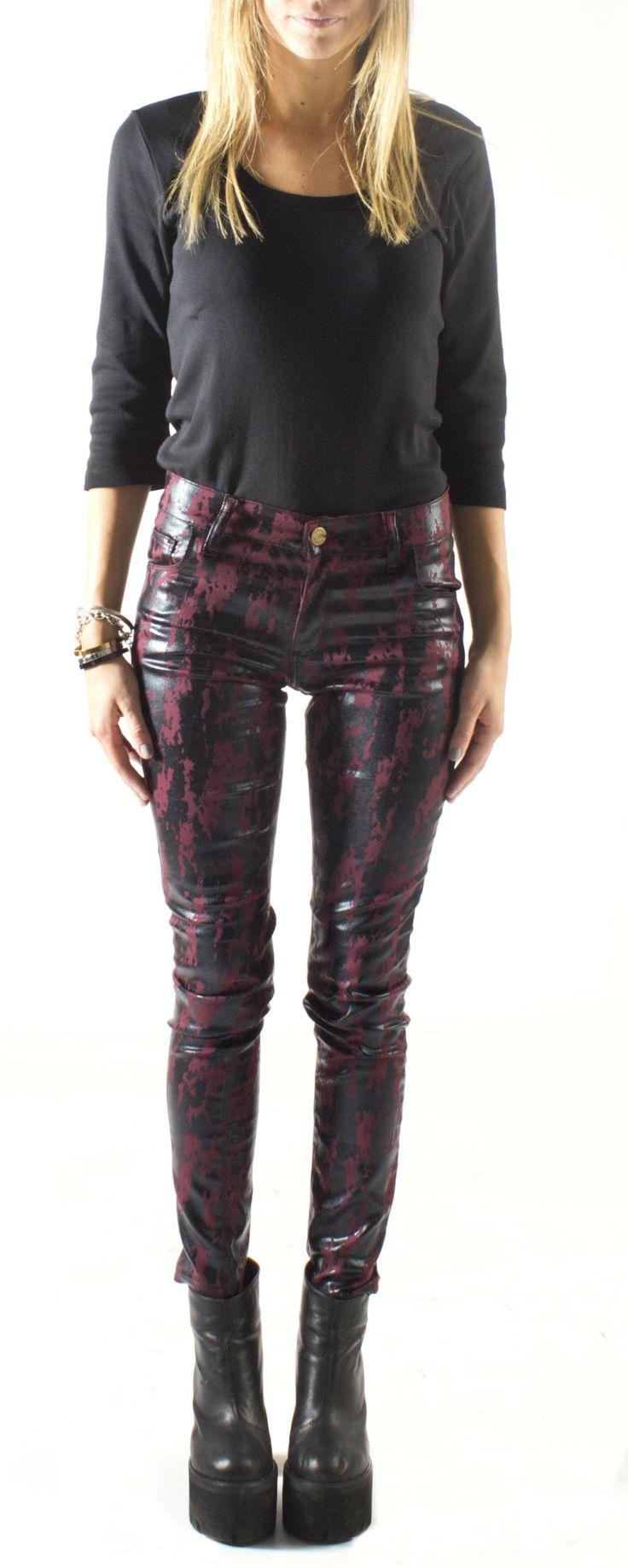 Women Fashion Moda Cuero Engomado Denim Jean Pantalon Awada Black Negro
