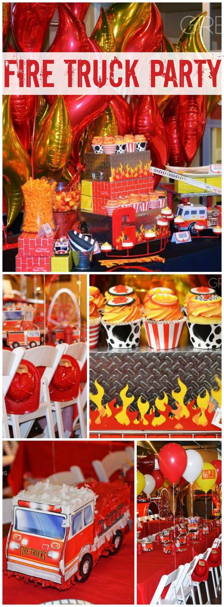 Fire truck firefighter birthday fire house birthday