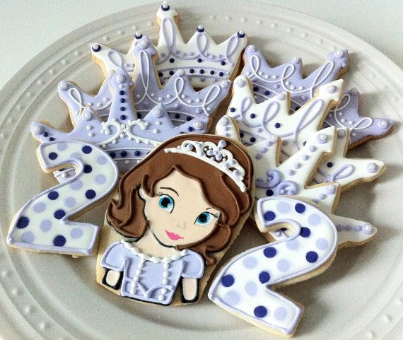 Sofia the First Decorated Character Cookies, perfect for your princess birthday party dessert table or favors