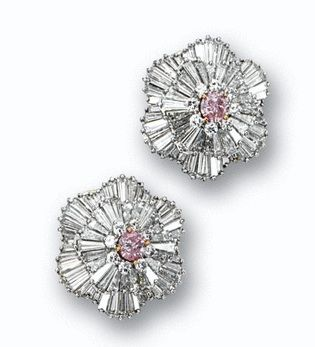Fancy Pink Diamond & Diamond Earrings