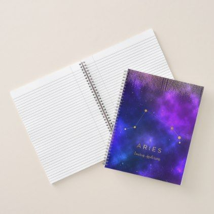 Galaxy Aries Personalized Journal - Office - birthday gifts party celebration custom gift ideas diy