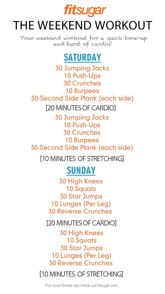 A great, simple routine for the weekends.  I need to try this. It would have to be Friday and Saturday though, because Sundays are my rest day!