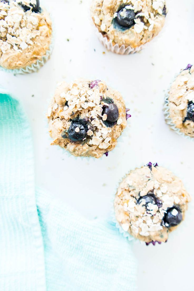 Blueberry Banana Power Muffins. Vegan, gluten free, oil free. Wholesome and heart healthy breakfast muffins with hemp seeds, flax seeds and rolled oats. Free from refined sugars, easy to make and so tasty! #vegan #breakfast #muffins