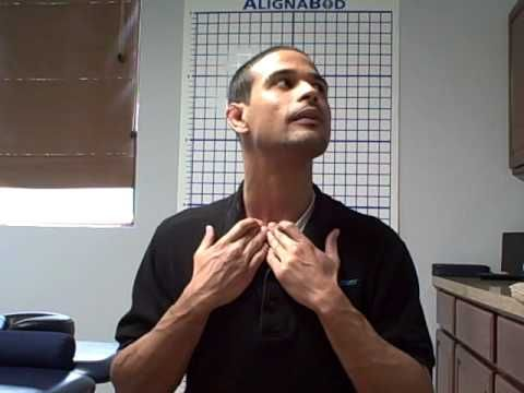 Self Neck SCM stretch - the sternocleidomastoid muscles can get very tight and pull the back and head over in a hunched position.
