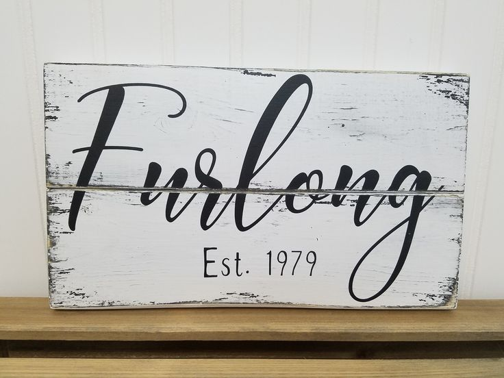 Farmhouse Style small Pallet Sign with Family Name &  Wedding Date - Distressed Sign - 7 x 12 in size and Colors of Your Choice