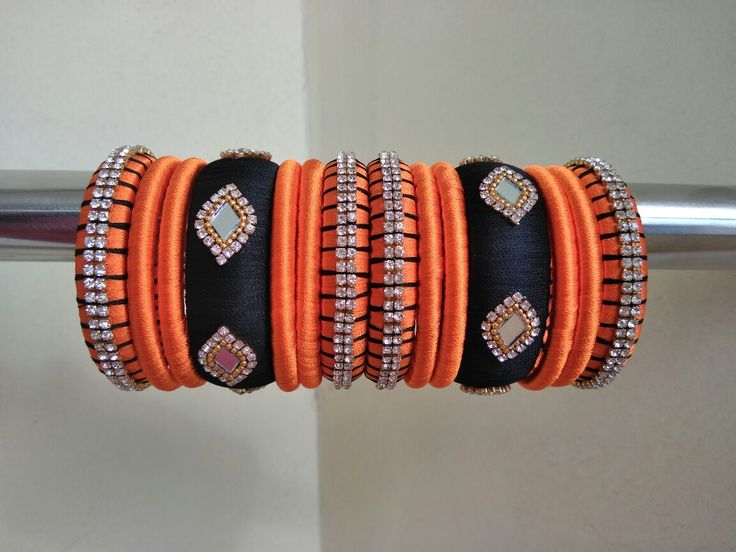 Orange n Black silk thread Bangles