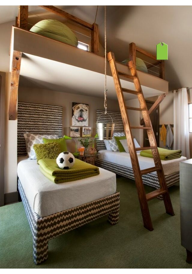Twin boys bedroom with platform good for playing and keeping toys out of the main part of - Twin bed for small space property ...