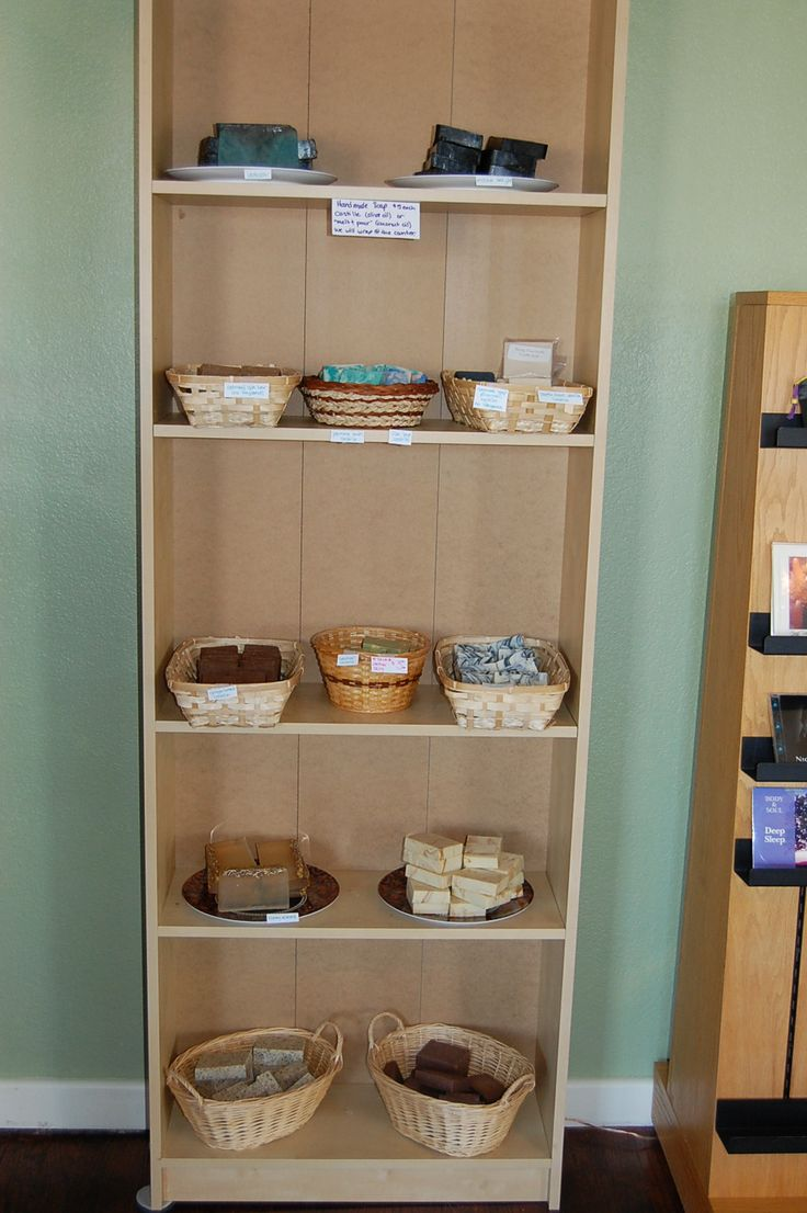 Handmade soap in an early display. We ditched the baskets and moved everything closer together, but when you're starting out, you kinda need to take up a lot of space, visually, because there isn't a whole lot of product to do it. Opening a store is expensive!!