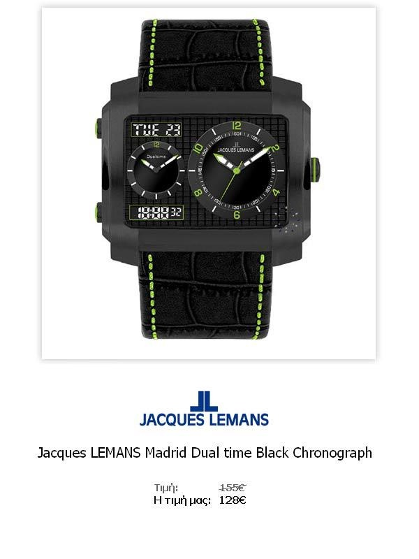 Jacques LEMANS Madrid Dual time Black Chronograph  1-1708D  Όλες οι λεπτομέρειεςτου ρολογιού εδώ   http://www.oroloi.gr/product_info.php?products_id=31783