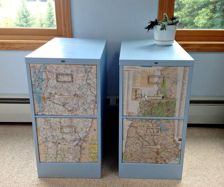 Fancy File Cabinet Decoupage Map
