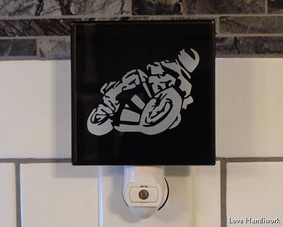 SPORT BIKE Motorcycle Rider Cartoon Etched Glass Black Wall