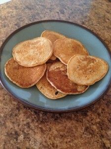 Rice Cereal Pancakes. Super simple to make. Made these a few times now and he really liked them