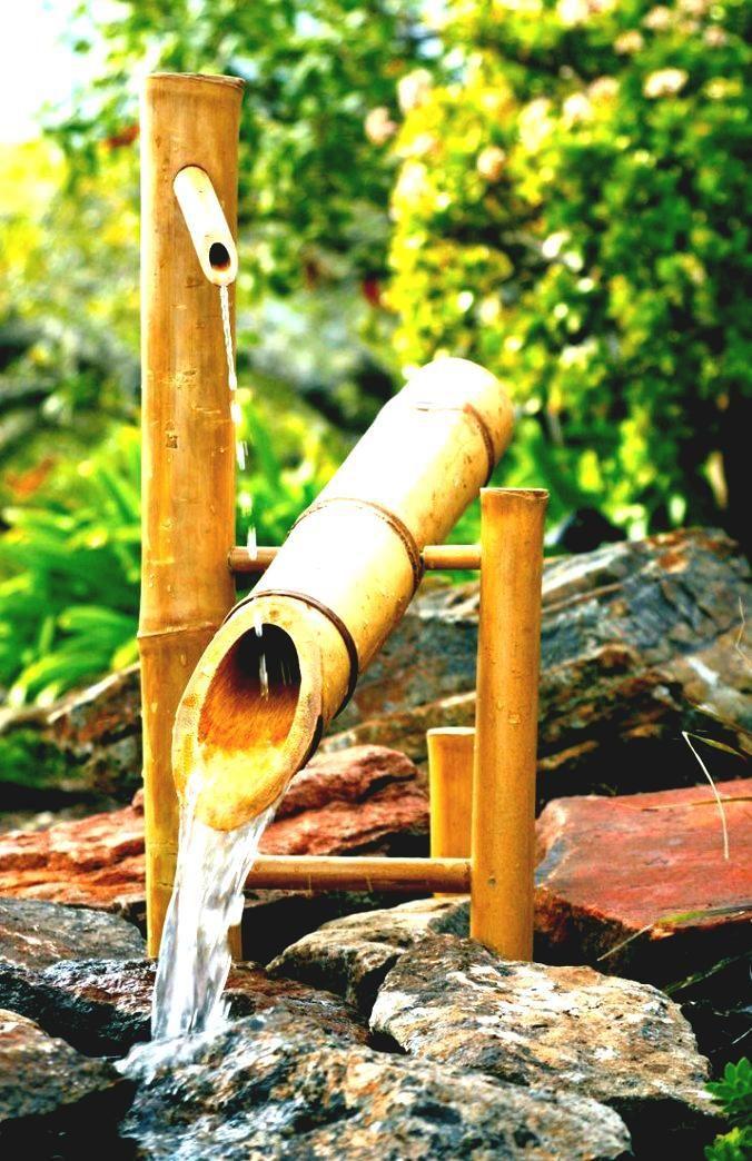 Foto fuente de agua con bambu para el jardin | # ...