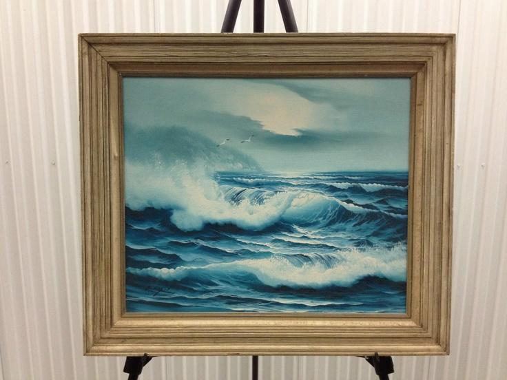 B Engel Vintage Signed Original Canvas Seascape Oil ...