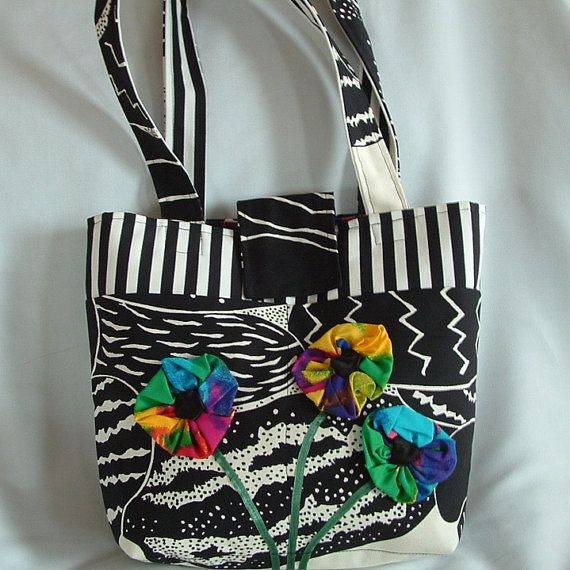 Funky Canvas Tote with Psychedelic Flowers by wiredroxz on Etsy