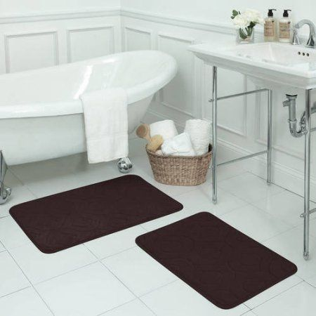 Bounce Comfort Naoli Micro Plush Memory Foam Bath Mat with BounceComfort Technology, Set of 2, Brown
