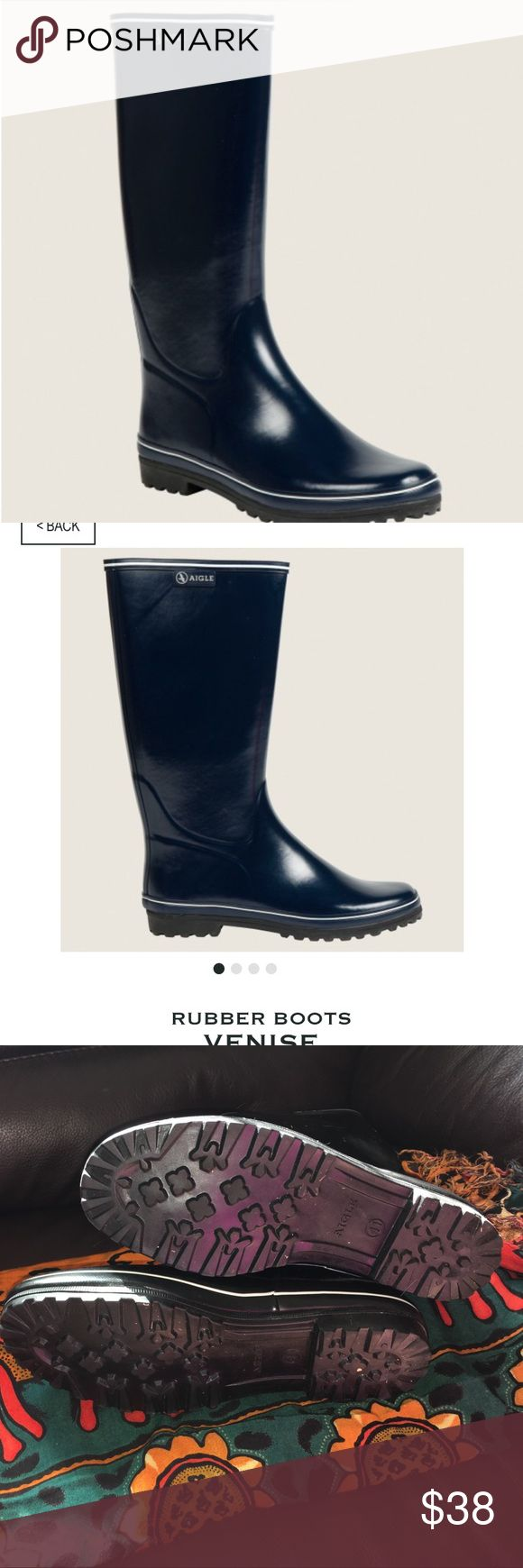 Aigle riding - water boots.  Model is Venise The Aigle boot requires no special care. Made of Aigle's flexible, waterproof Slush®, this tall riding boot has a moisture-wicking lining and interior leather collar.   Equestrian boots. Water boots. Everything boots Aigle Shoes Winter & Rain Boots