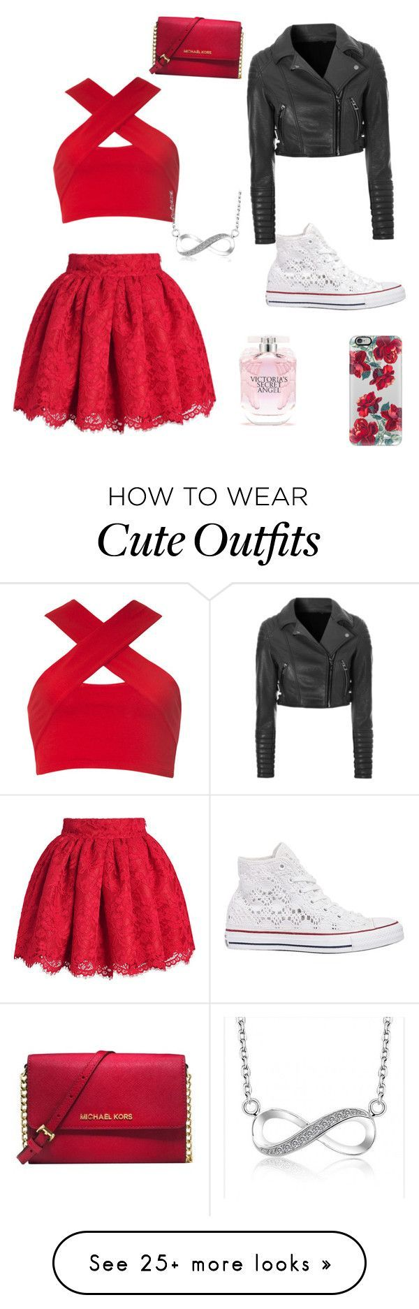"""Cute outfit!!!"" by breebee76 on Polyvore featuring Motel, Glamorous, Converse, Michael Kors, Victoria's Secret and Casetify"