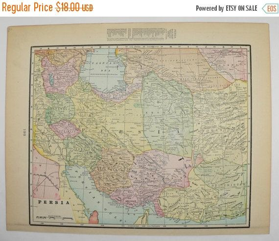 1900 Antique Map Iran Persia, Map Afghanistan, Pakistan Map, Middle East Geography, Persian Gulf Gift for Him, Art Gift for Her available from OldMapsandPrints.Etsy.com #Persia #Turkestan #Afghanistan #MiddleEastMap
