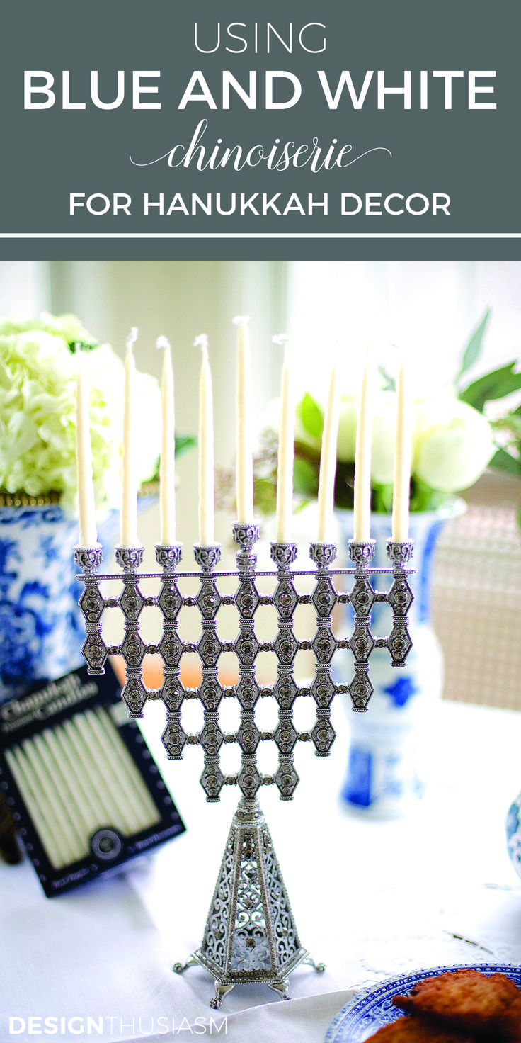 Using blue and white chinoiserie for Hanukkah decorations | Blue and white holiday decor ideas for French country style | Beautiful blue and white holiday decorating ideas | Hanukkah decor ideas for DIY holiday table settings | designthusiasm.com