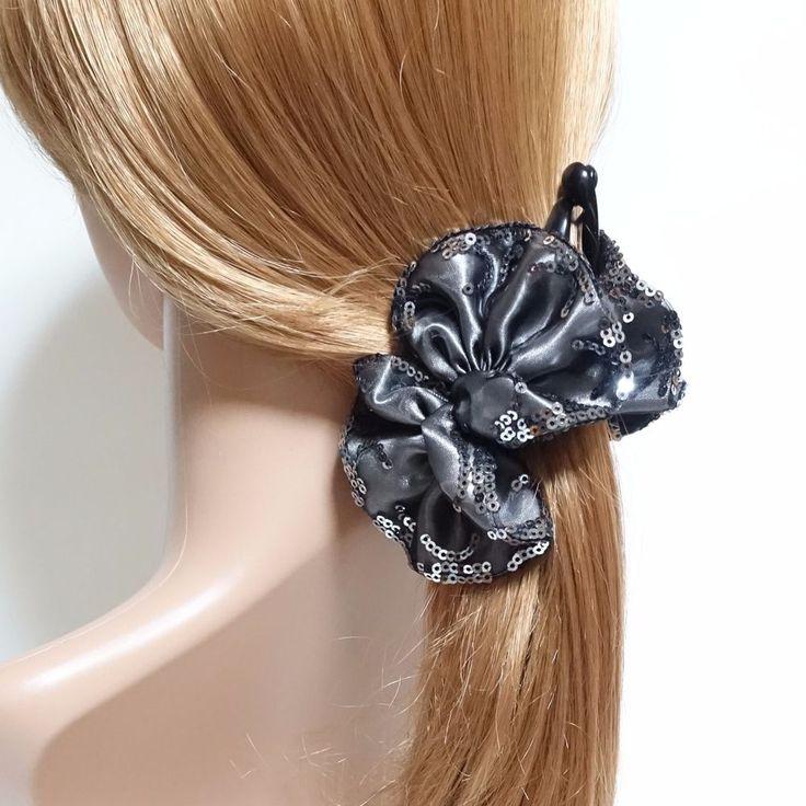 Handmade Meshed Satin Sequin Spangle Trim Bow Banana Hair Clip #VeryShine #Clips #handmade #bananaclip #hairclip #satinbow