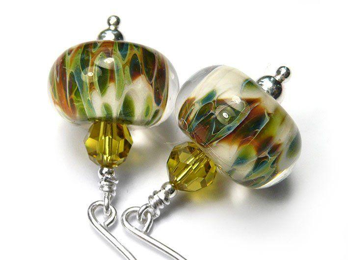 Lampwork Glass Earrings - Snowy Branch