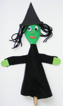 Wooden spoon witch puppet