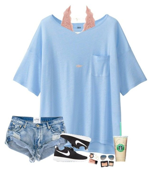 """""""Ella and Lyds' contest-- day one"""" by hopemarlee ❤ liked on Polyvore featuring Uniqlo, Charlotte Russe, NIKE, Ray-Ban, Kendra Scott, MAC Cosmetics, NARS Cosmetics and bestiesbacktoschool"""