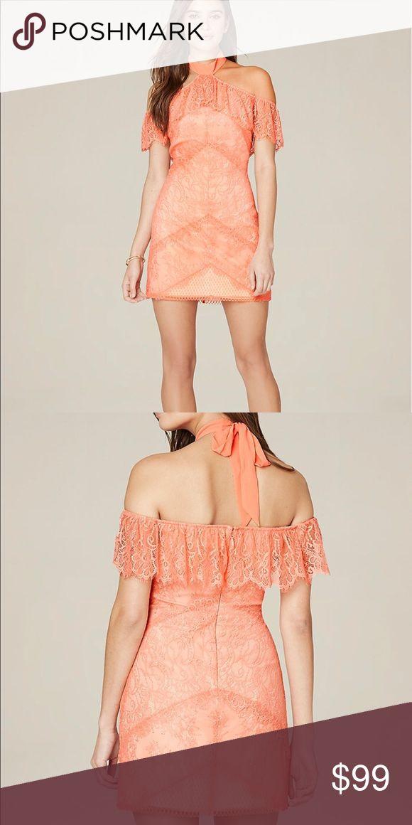 Bebe coral lace dress halter off shoulder NWT SZ 2 Bebe coral lace dress halter off shoulder NWT SZ 2 bebe Dresses