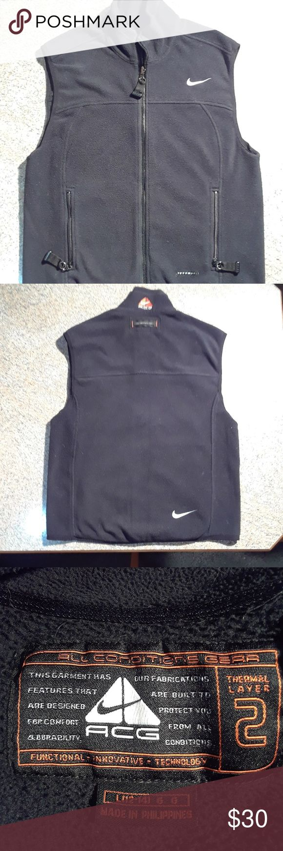 Retro Nike ACG Fleece Vest Perfect Condition Throwback Nike ACG Fleece Vest All Black... Zipper Pockets 3 Nike Checks on vest 1 front 1 back and 1 with ACG Logo on back of neck...Hard to Find item Nike ACG Jackets & Coats Vests