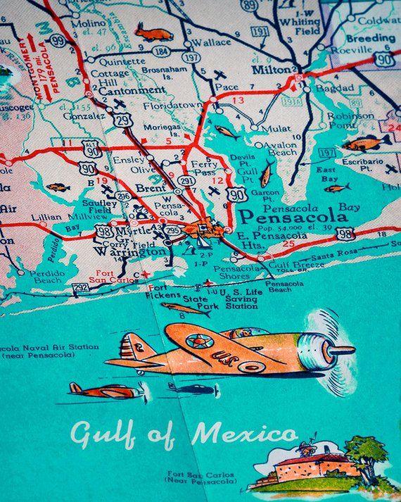 Maps Of Florida Panhandle Beaches : florida, panhandle, beaches, Florida, Panhandle, Pensacola, Beach, Navarre, Panama, Retro, Print,
