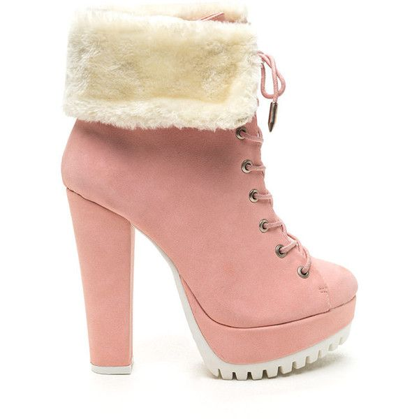 Fur Your Own Good Chunky Booties PINK found on Polyvore featuring polyvore, fashion, shoes, boots, ankle booties, ankle boots, pink, fur boots, platform booties and fur ankle boots
