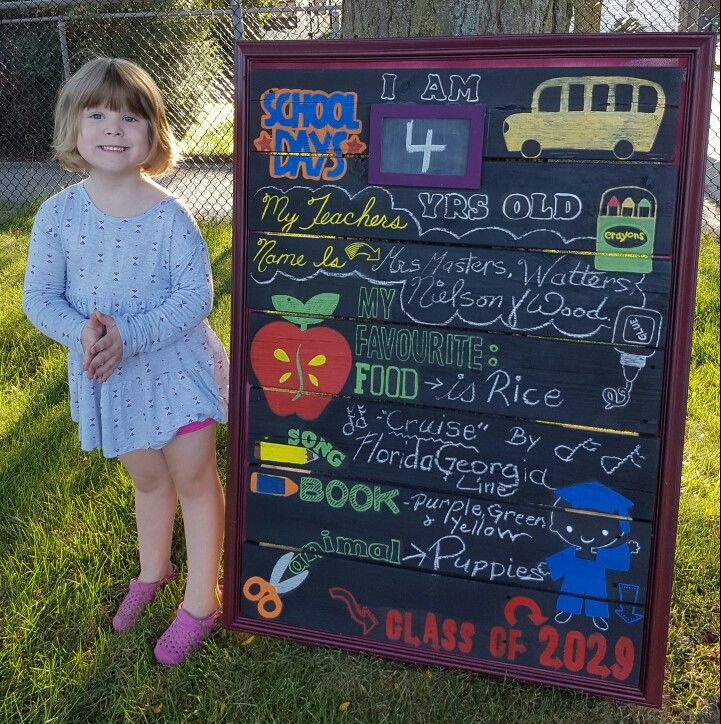 "My rendition of her first day of school sign! I love this idea, every year the ""favourites "" will change, looking forward to see how she grows."