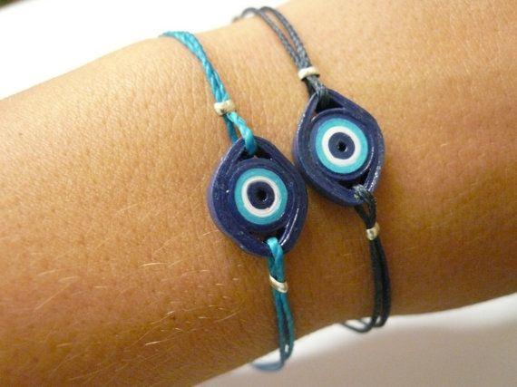 Evil Eye symbol bracelet, macrame, wateresistant, minimal style