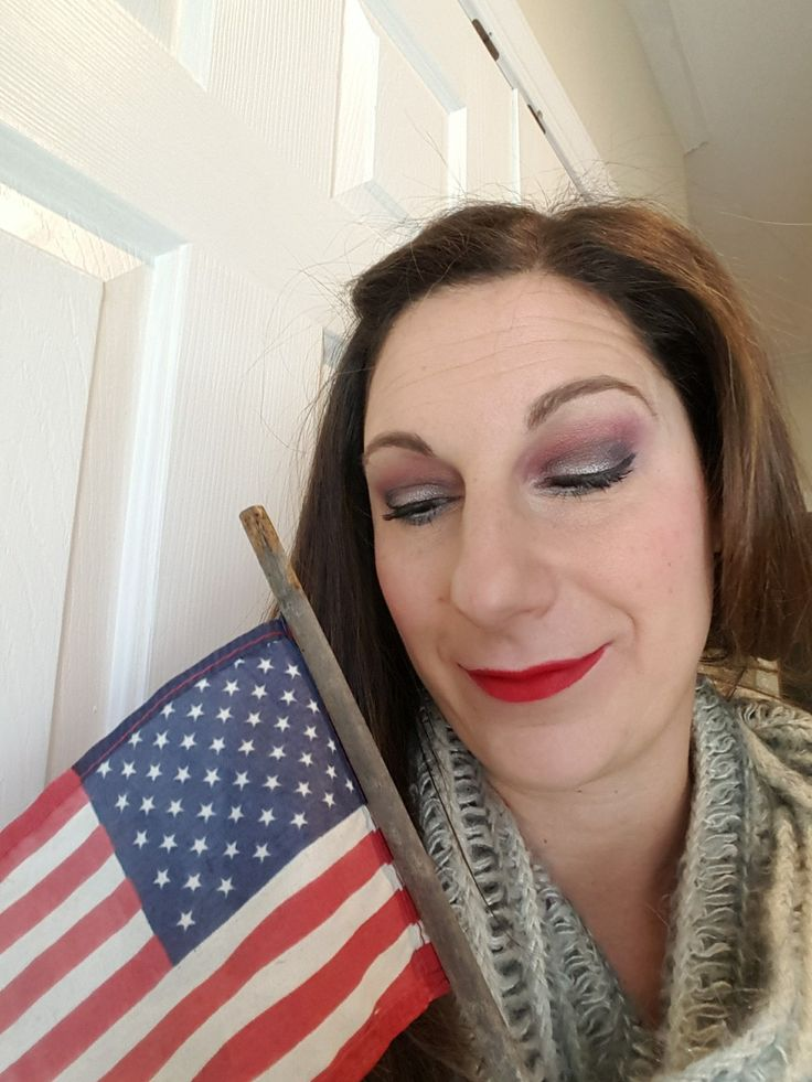 Red, white and blue eyeshadow.  USA inspiration.  Created with lipstick for red shadow and lips.  click on image.