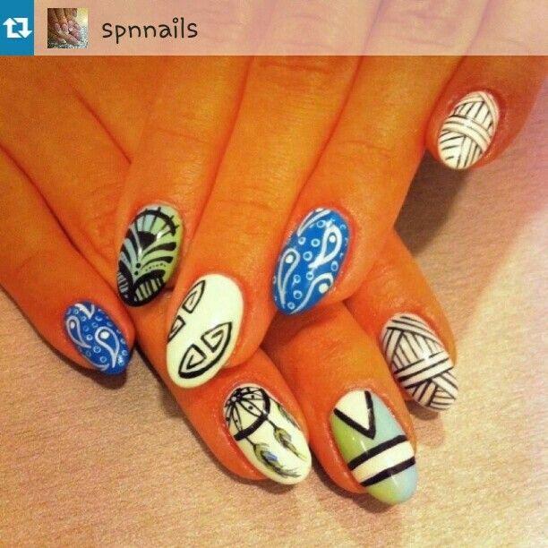 Icon design nails. Dream catcher. Spn nais  https://instagram.com/holla_jazzy/