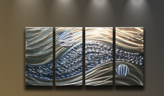 Metal Wall Art Abstract Modern Sculpture 4 Panels Large