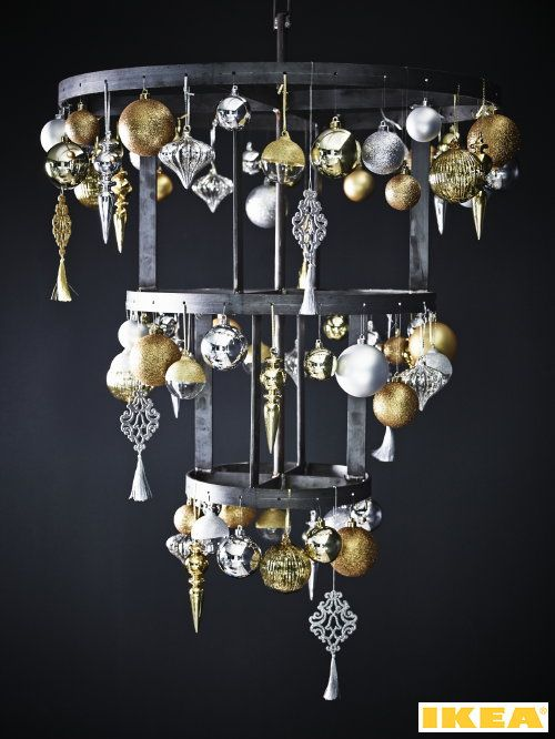 Ikea Christmas Collection 2013, #Christmas Trend Modern Classic  - Modern Upside Down #Christmas Tree with Christmas Decorations in Zilver and Gold. (Photo #Ikea)