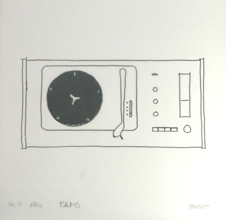 Facsimile of a Dieter Rams sketch of the SK 4, designed in 1956. From 'Braun The Last Edition, 1991